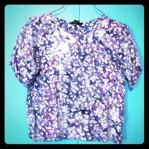 LAVENDER wide cropped batik floral tie dye tshirt